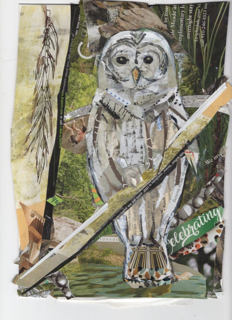 In the Woods  by Kathryn DeMarco, collage approx 16 x 14 at Craven Allen Gallery 450