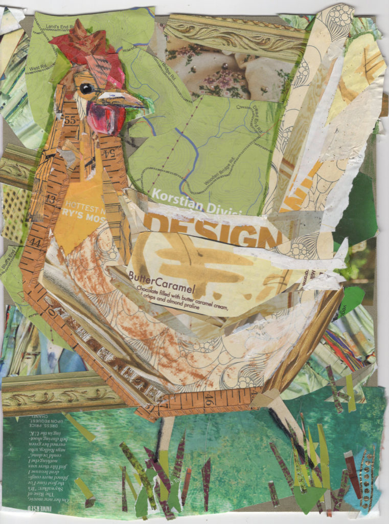 Easter Egger by Kathryn DeMarco, collage approx 16 x 14 at Craven Allen Gallery 450