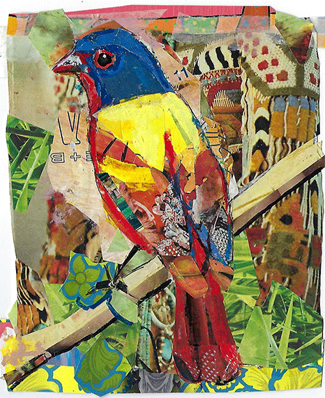 Painted Bunting, collage 10 x 8 by Kathryn DeMarco at Craven Allen Gallery