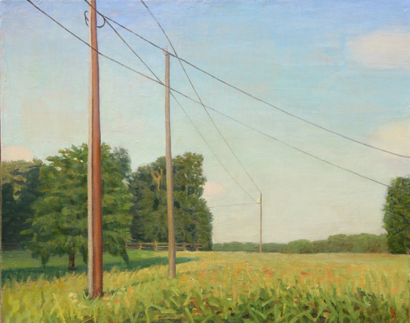 Six Acre Parcel Looking East Late Afternoon With Telephone Poles, oil on linen, 16 x 20 by John Beerman at Craven Allen Gallery