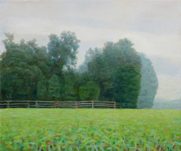 Six Acre Parcel Looking East Summer Afternoon Mist, 11x13, Oil on linen by John Beerman at Craven Allen Gallery