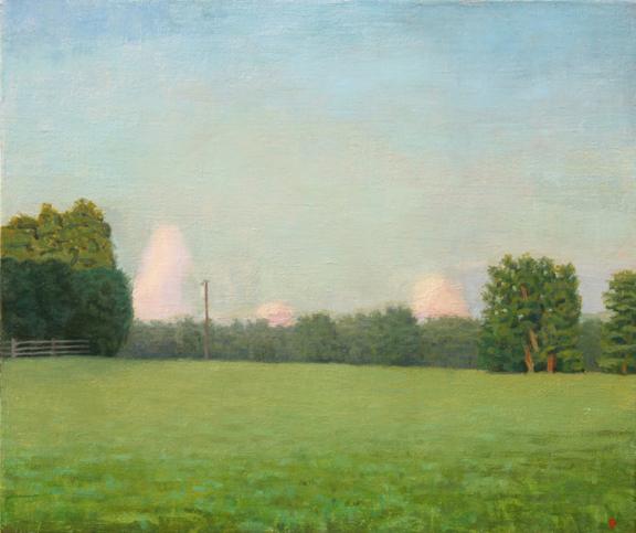Six Acre Parcel Looking East Summer Eve, oil on linen, 11x13 by John Beerman at Craven Allen Gallery