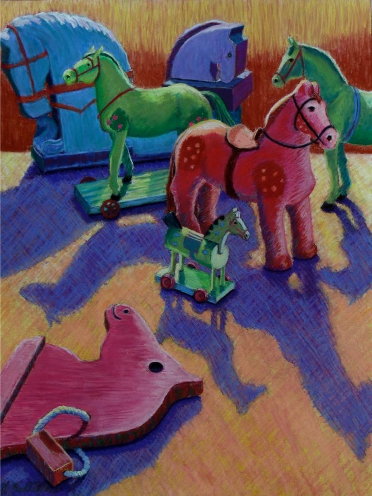 Horses of A Different Color by A. Hunter Taylor, pastel, 24 x 18 at Craven Allen Gallery