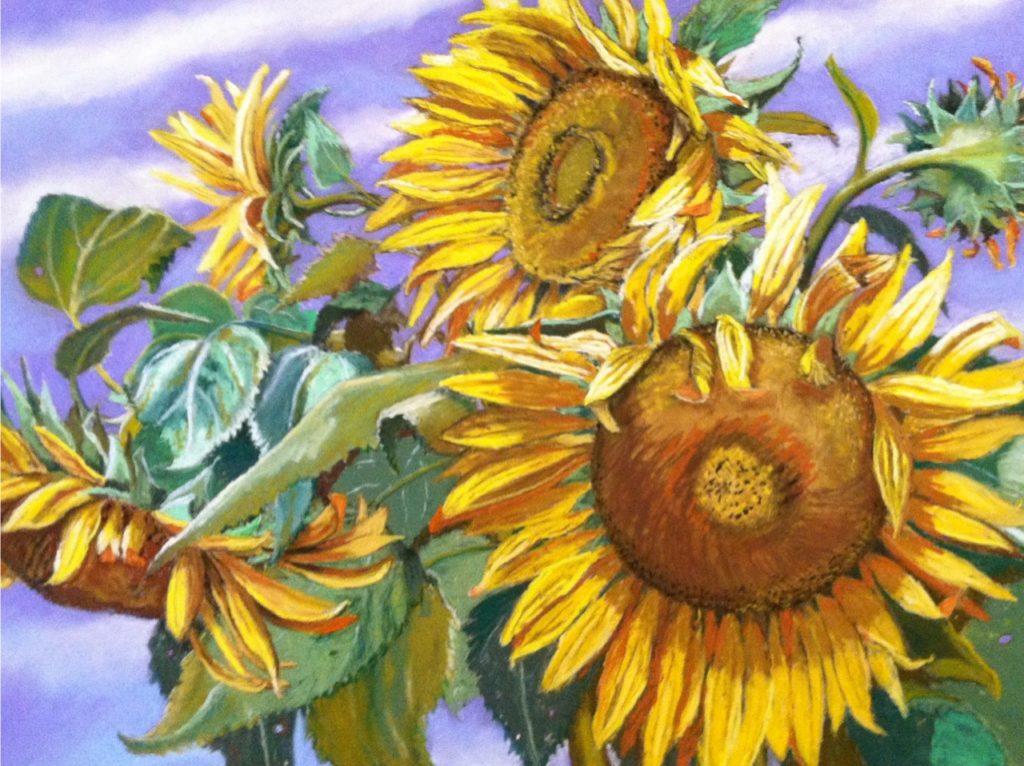 September  Sunflowers by A. Hunter Taylor, pastel, 22.75 x 29 at Craven Allen Gallery