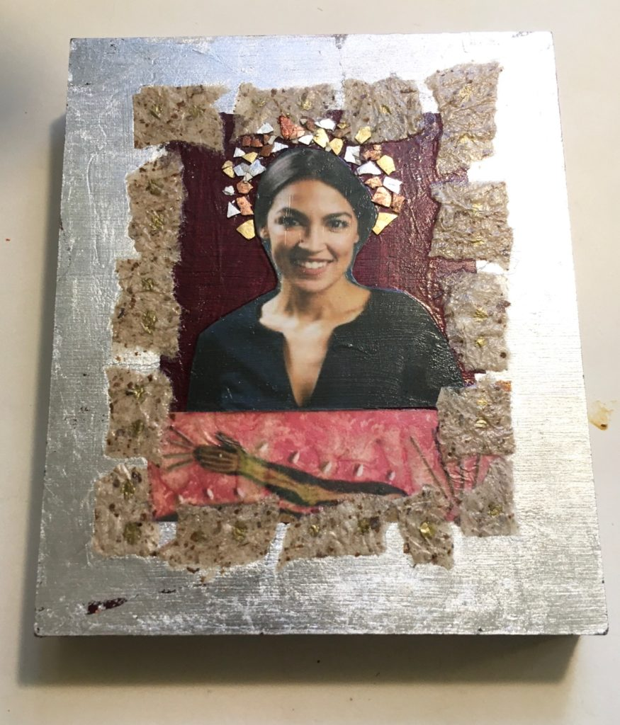 AOC by Madelyn Smoak, collage on wood 6 x 5 at Craven Allen Gallery