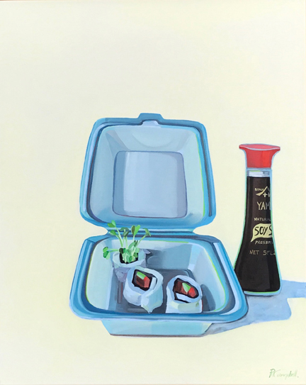 Last Meal Before India, oil on canvas, 30x24  by Rachel Campbell at Craven Allen Gallery