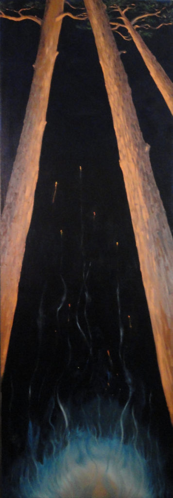 Bahama Bonfire by Sue Sneddon, oil on canvas, 60 x 20 at Craven Allen Gallery    4500