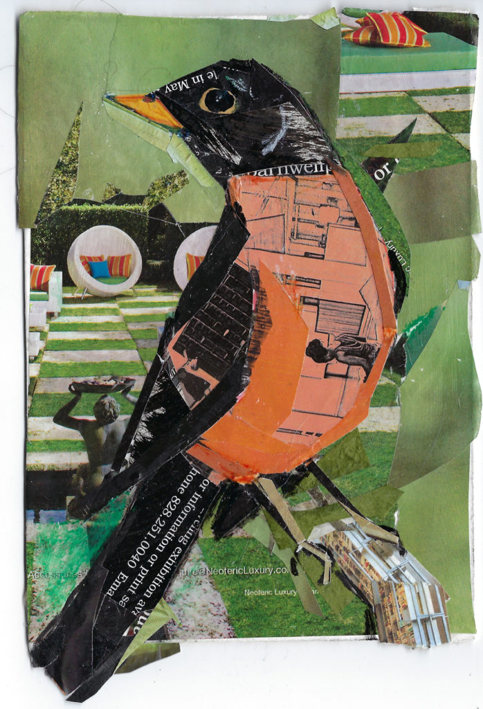 Robin by Kathryn DeMarco, collage, 9 x 11 at Craven Allen Gallery