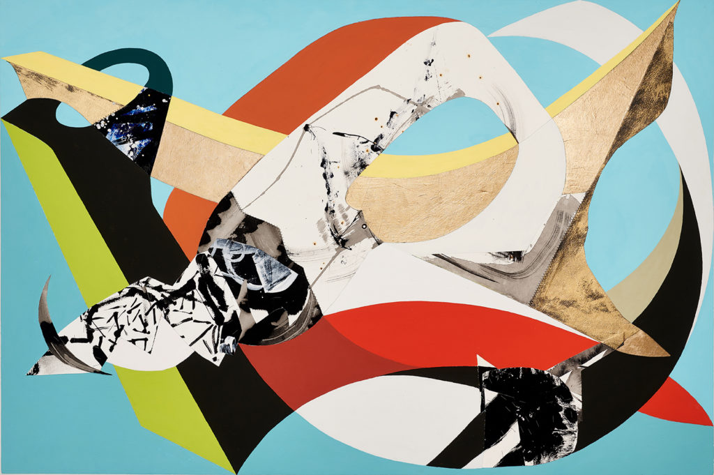 Nosedive by Chieko Murasugi, Acrylic, cutouts and Flashe on panel, 36 x 54 at Craven Allen Gallery