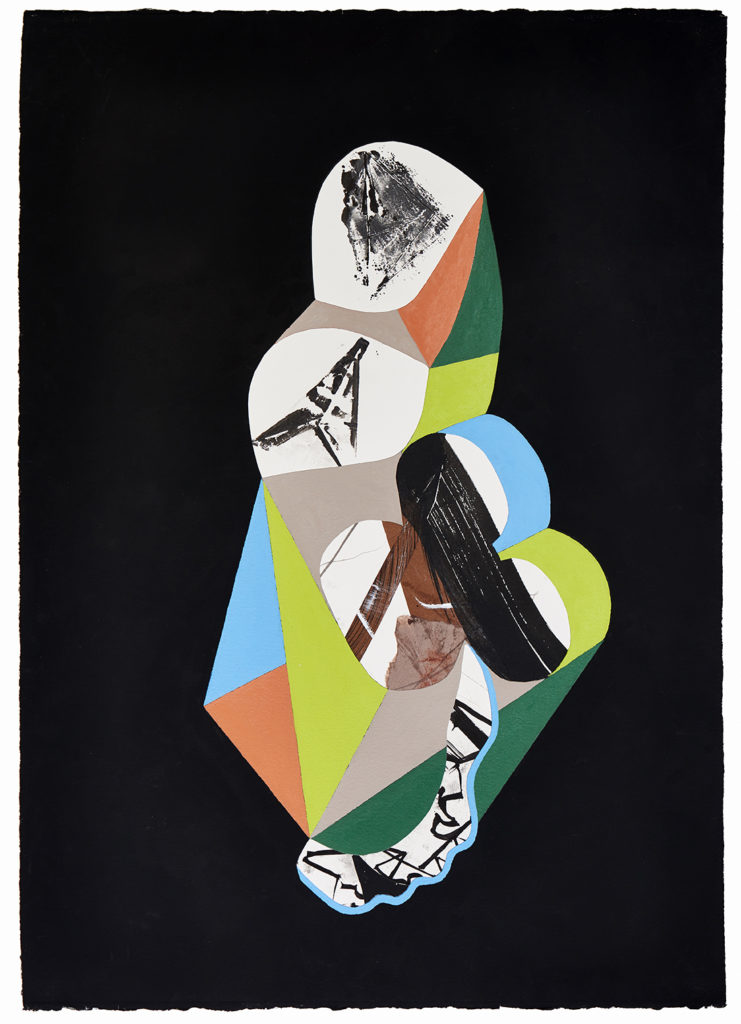 Roshambo #15 by Chieko Murasugi, Acrylic, cutouts and Flashe on Arches paper, 41 x 29.5 at Craven Allen Gallery