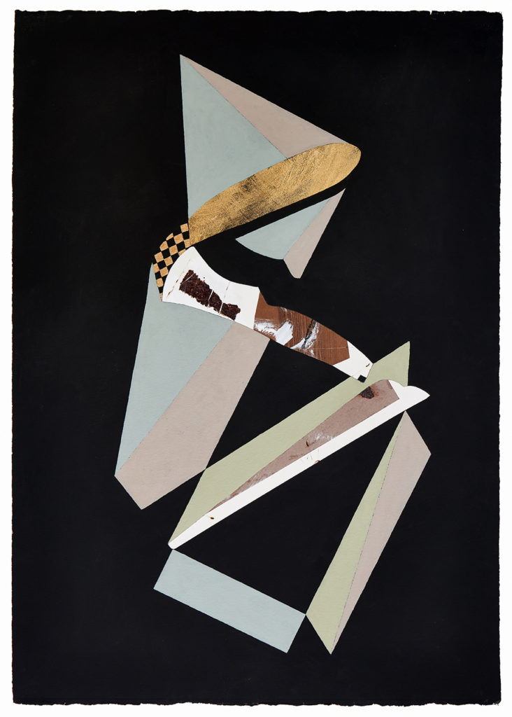 Roshambo #19 by Chieko Murasugi, Acrylic, cutouts and Flashe on Arches paper, 41 x 29.5 at Craven Allen Gallery
