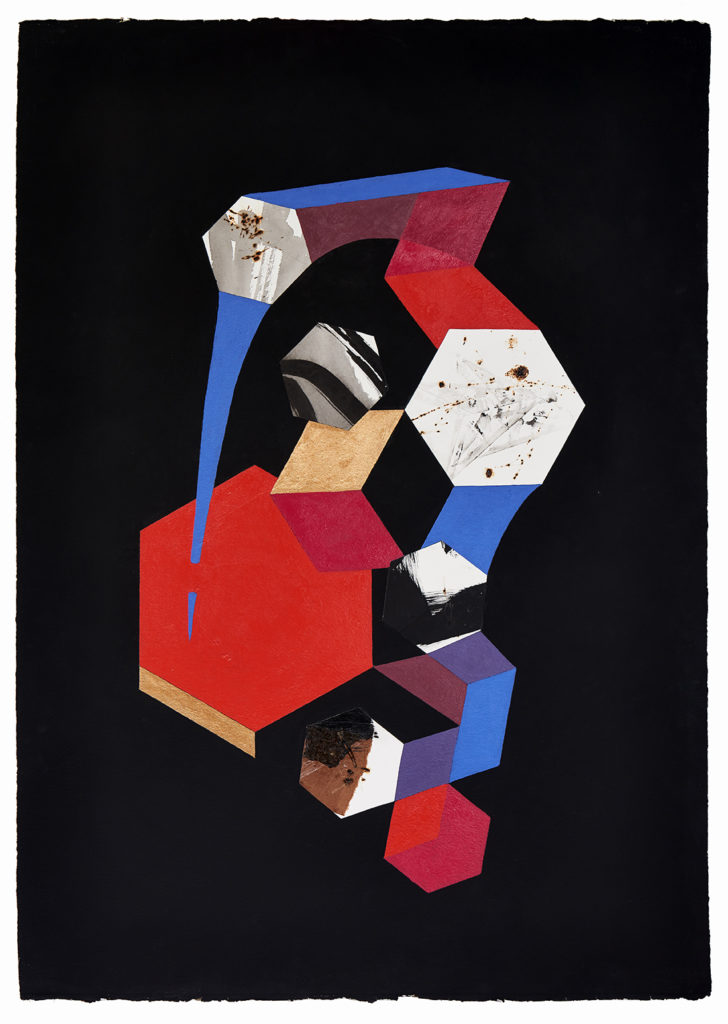 Roshambo #20 by Chieko Murasugi, Acrylic, cutouts and Flashe on Arches paper,  41 x 29.5 at Craven Allen Gallery
