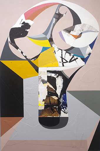 Soldier On In Place by Chieko Murasugi, Acyrlic, cutouts and Flashe on panel, 54 x 36 at Craven Allen Gallery