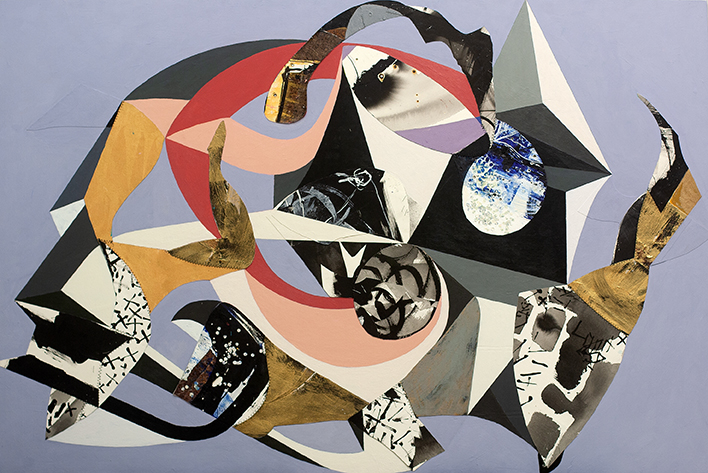 Tipping Point by Chieko Murasugi, Acrylic, cutouts and Flashe on panel, 54 x 36 at Craven Allen Gallery