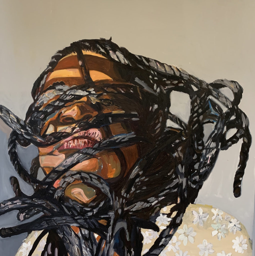 Defiant by Beverly McIver, oil on canvas, 48 x 48 at Craven Allen Gallery  50,000