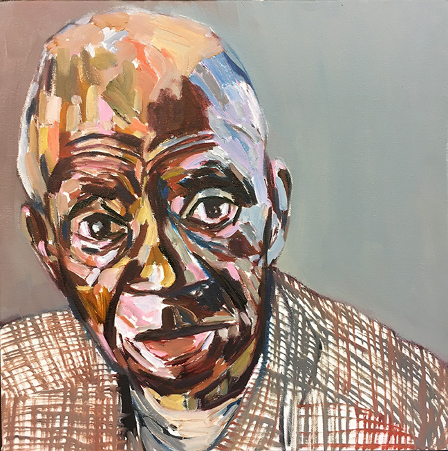 Dad Looking by Beverly McIver, oil on canvas, 18 x 18 at Craven Allen Gallery