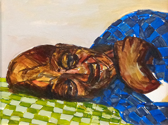 Dad Resting (study) by Beverly McIver, oil on canvas, 13 x 16 at Craven Allen Gallery