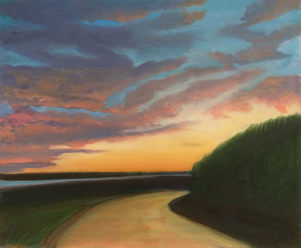 Double Bluff Sunset by David Davenport 16X18 oil on canvas  at Craven Allen Gallery 1200