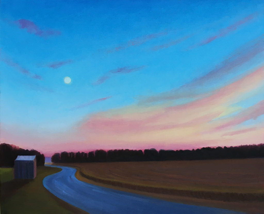 Harvest Moonrise by David Davenport 16X20 oil on canvas at Craven Allen Gallery 1500