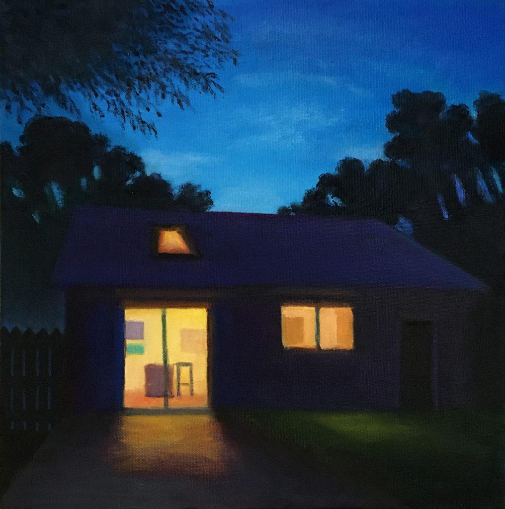 Night Studio by David Davenport oil on canvas 10X10 at Craven Allen Gallery  900