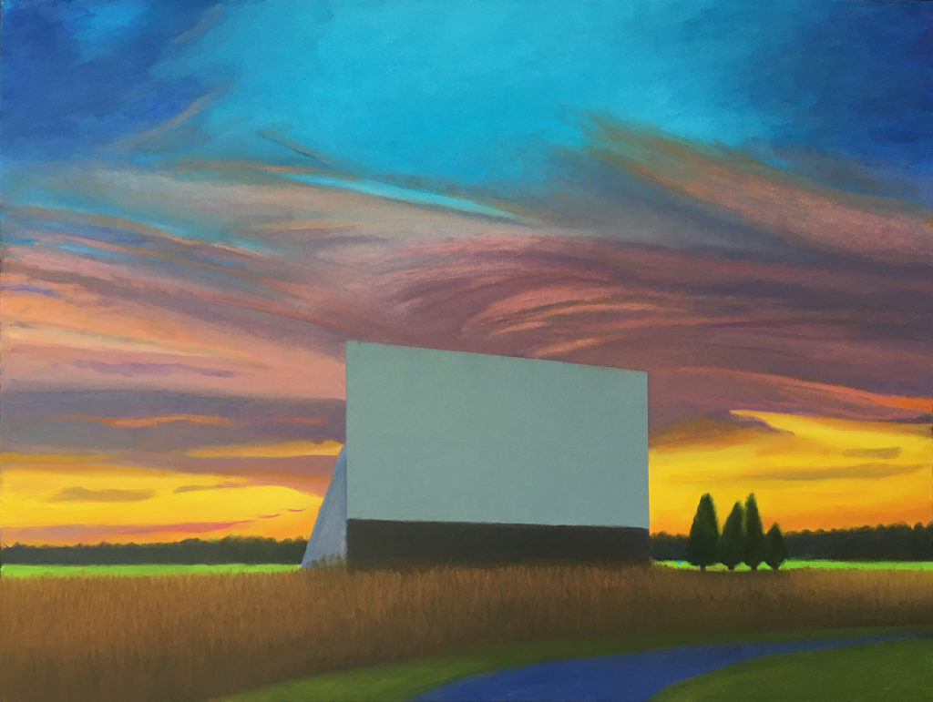 Twilight Drive-In  by David Davenport 30X40 oil on canvas  at Craven Allen Gallery  3800