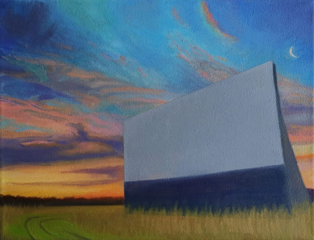 Twilight Drive-In II by David Davenport 9X12 oil on canvas at Craven Allen Gallery 840