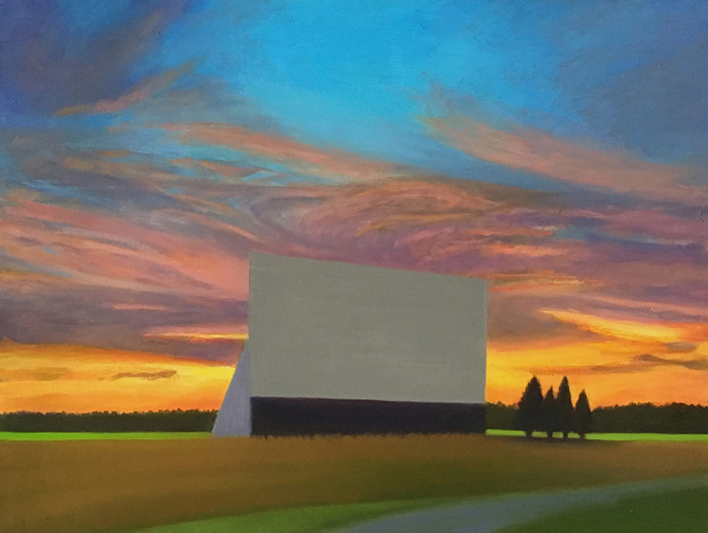 Twilight Drive-In Study by David Davenport 16X20 oil on canvas at Craven Allen Gallery 1400
