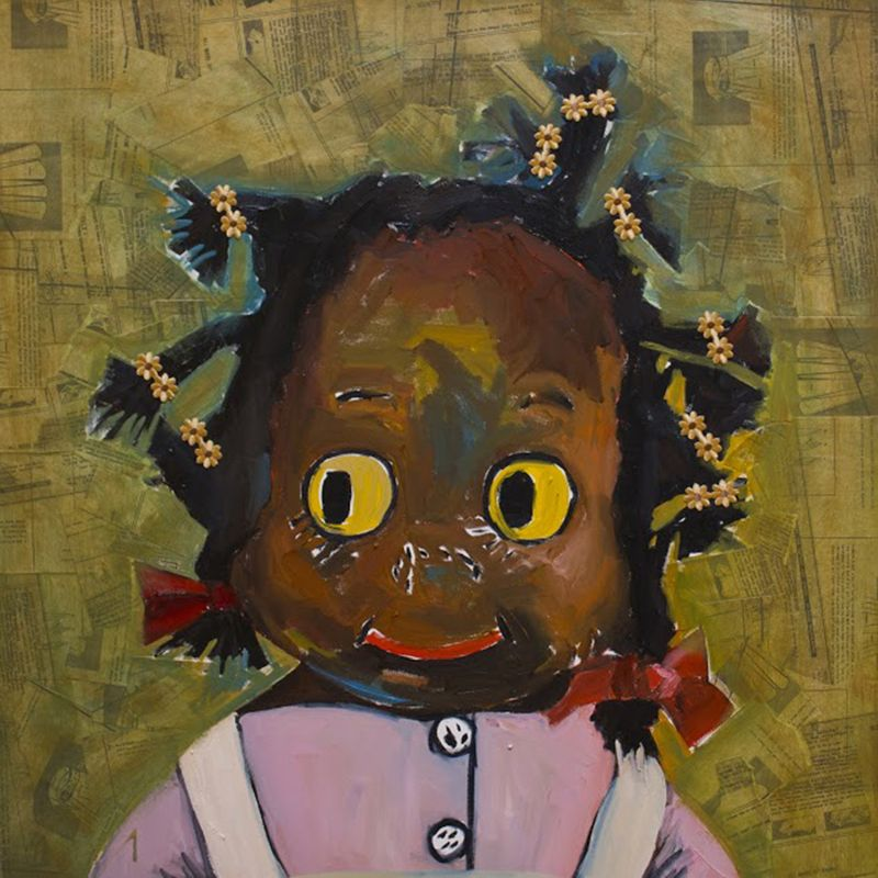 Doll Baby , oil on canvas 30 x 30 by Beverly McIver at Craven Allen Gallery