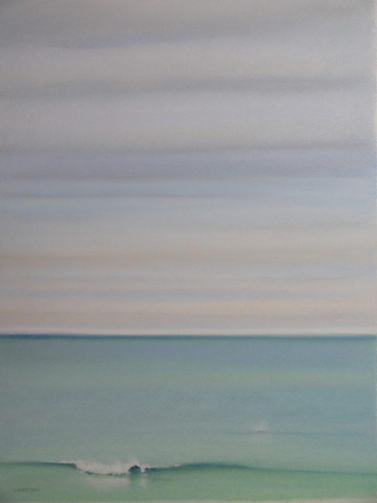 Dolphin Spout by Sue Sneddon pastel 13 x 9 framed size 20.5 x 16.5 950