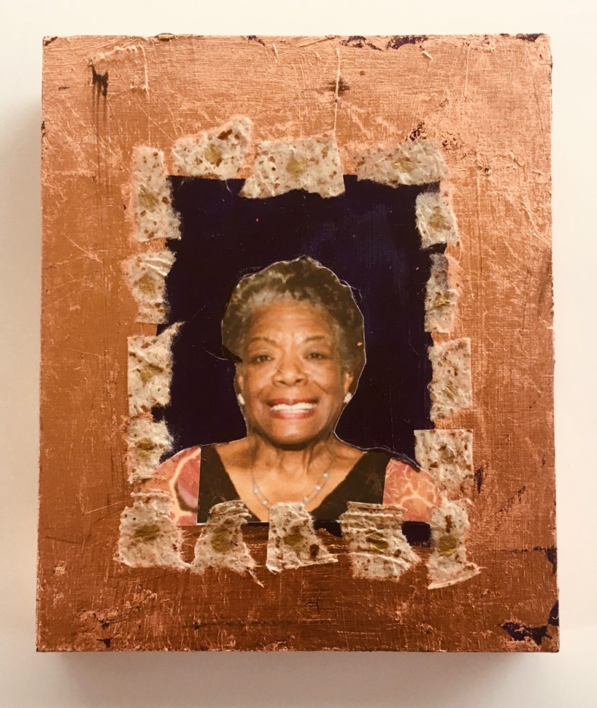 Dr. Maya Angelou by Madelyn Smoak, collage on wood, 6 x 5 at Craven Allen Gallery