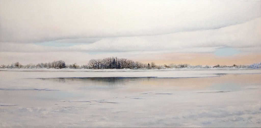 Edinboro Lake by Sue Sneddon, oil on canvas, 15 x 30 at Craven Allen Gallery 2800
