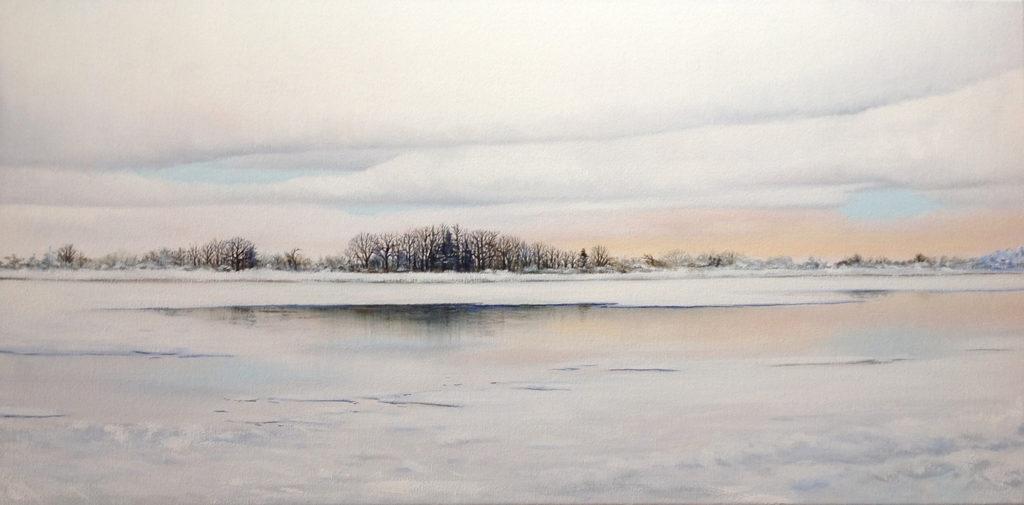 Edinboro Lake by Sue Sneddon, oil on canvas, 15 x 30 at Craven Allen Gallery