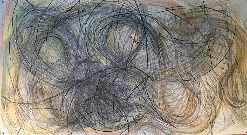 EnergyAir by Ippy Patterson, graphite, prismacolor pencil, oil pastel, coffee, 44 x 77 at Craven Allen Gallery