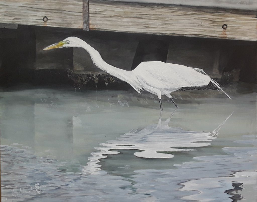 Fishing in Southport, acrylic on canvas, 24 x 30 by Tony Alderman at Craven Allen Gallery