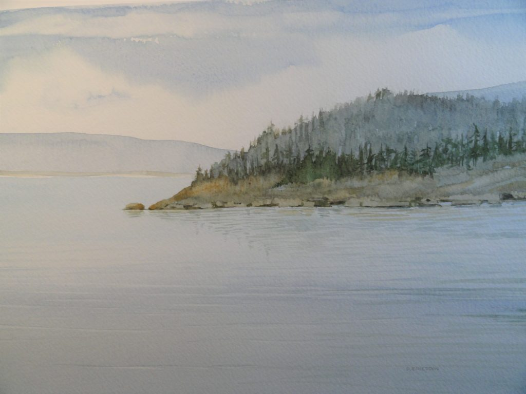 Fog Lifting by Sue Sneddon, watercolor, 7 x 10 framed size 14.5 x 17.5 at Craven Allen Gallery  650