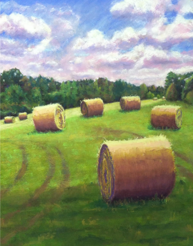 Rolled Hay Bales by A. Hunter Taylor, pastel 19.5 x25.5 at Craven Allen Gallery