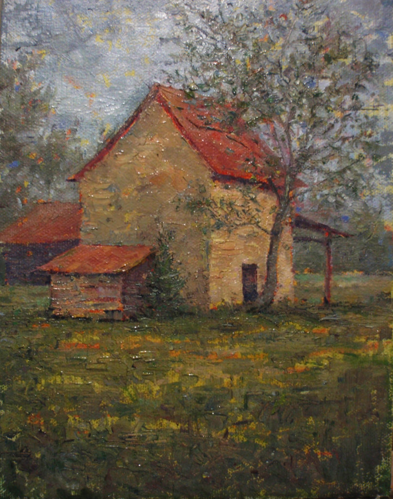 Halls' Barn by Gerry O'Neill, oil on panel, 8x10 at Craven Allen Gallery