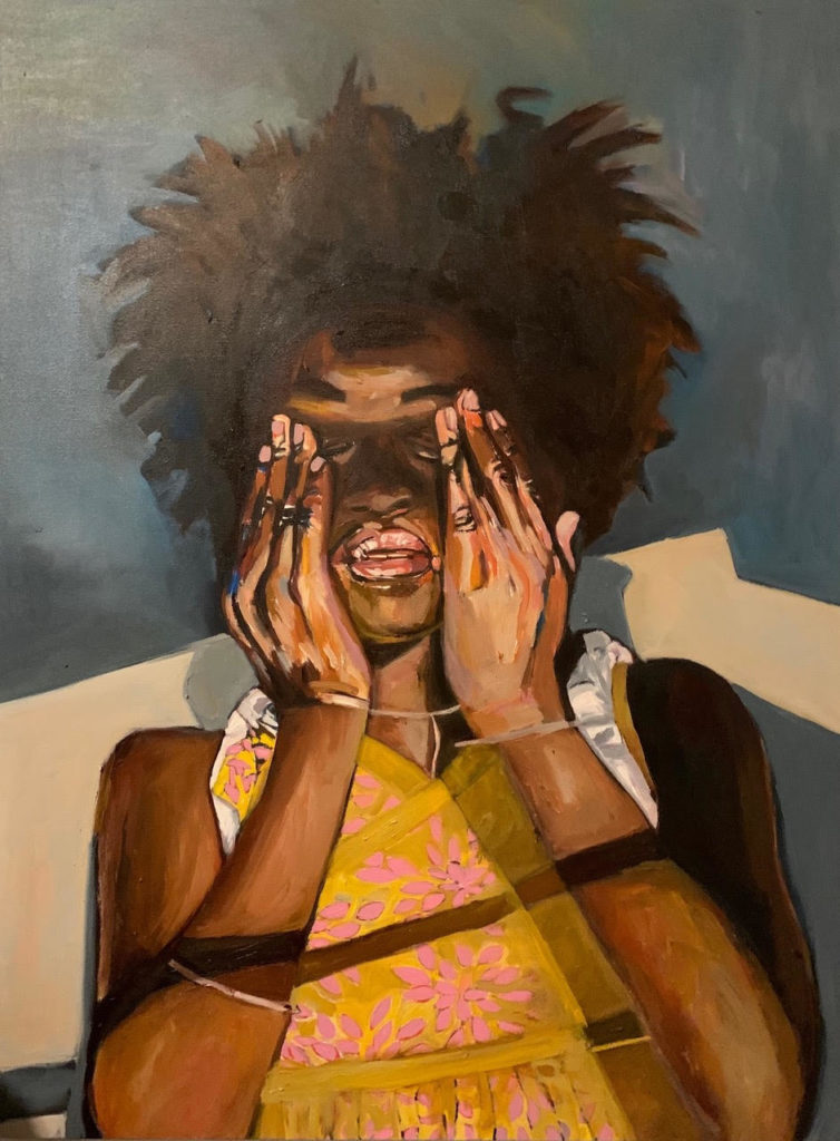 Girl Closing Her Eyes by Beverly McIver, oil on canvas, 48 x 36 at Craven Allen Gallery  SOLD