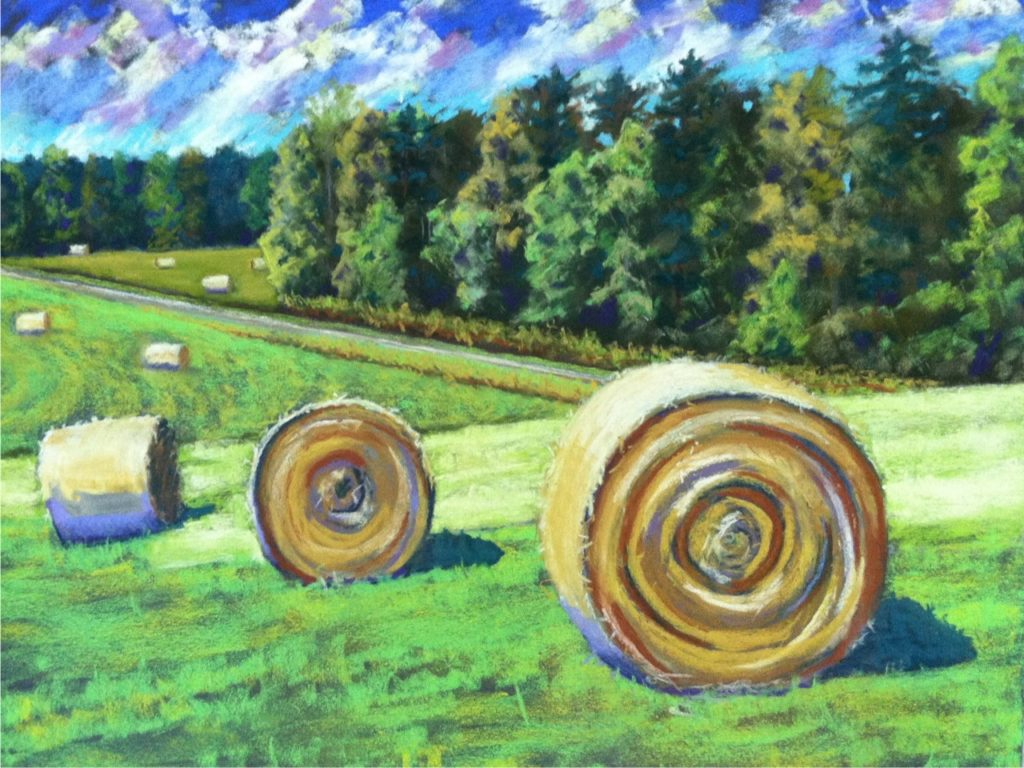 Hay Fields and Round Bales by A. Hunter Taylor, pastel 19.5 x25.5 at Craven Allen Gallery