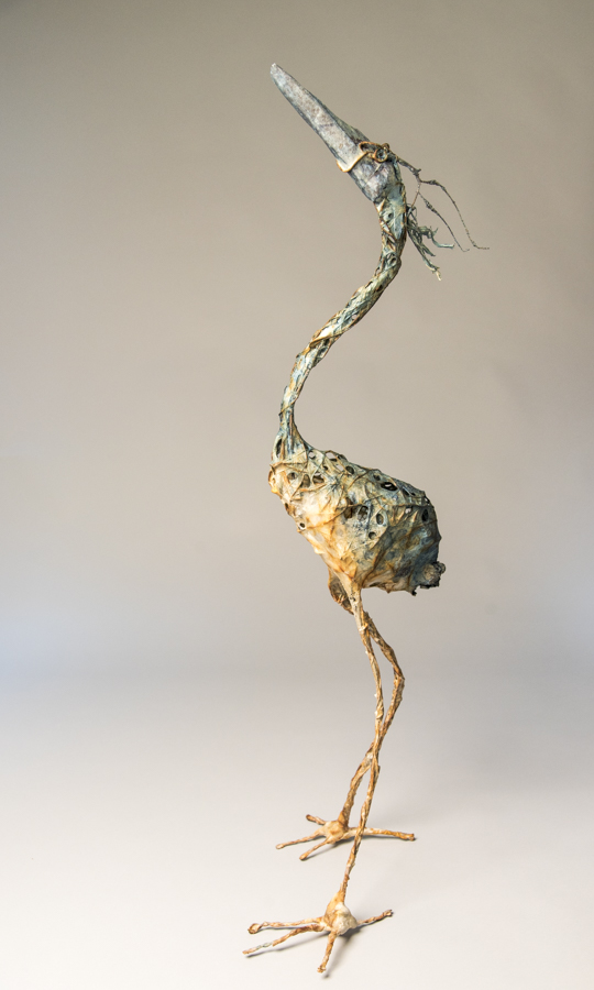 Heron, mixed materials, by Bryant Holsenbeck at Craven Allen Gallery