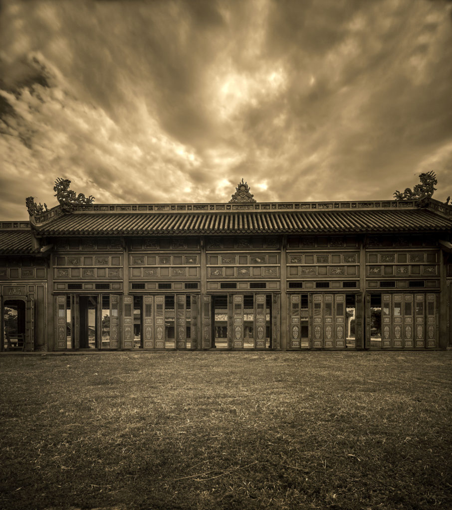 Pagoda Hue Vietnam, outside doors by Greg Plachta, photograph at Craven Allen Gallery