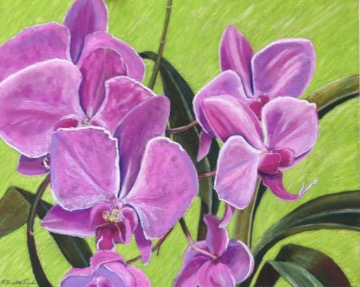 Orchids by A. Hunter Taylor, pastel, 18 x 24 at Craven Allen Gallery