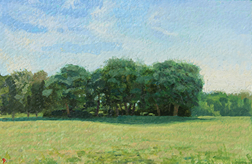 Ary Mount, Late Morning, Clear Day, oil on paper, 6 x 9 by John Beerman at Craven Allen Gallery