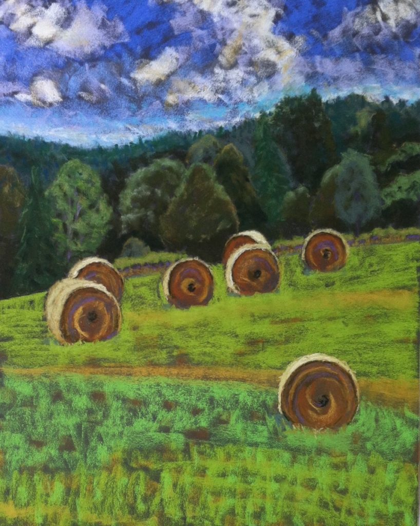 Rolling Hay Bales by A. Hunter Taylor,  pastel, 25.5 x 19 framed at Craven Allen Gallery   1200