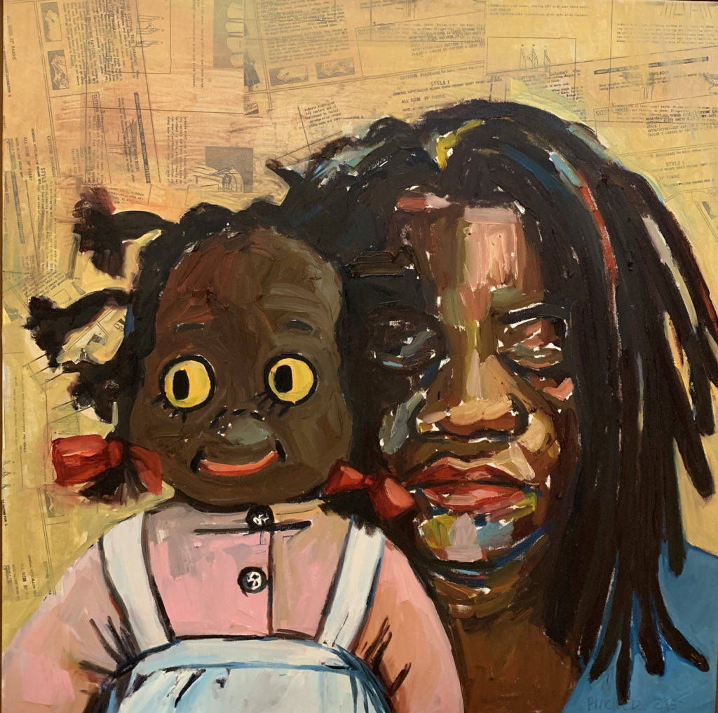 Daughter to Daughter by Beverly McIver, oil on canvas,30 X 30 at Craven Allen Gallery