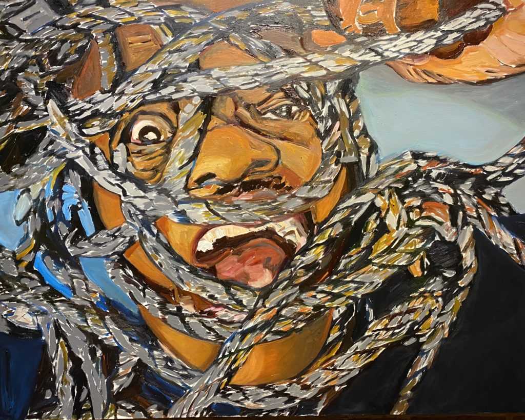 Lonnie Screaming by Beverly McIver oil on canvas  36 x 48   40,000