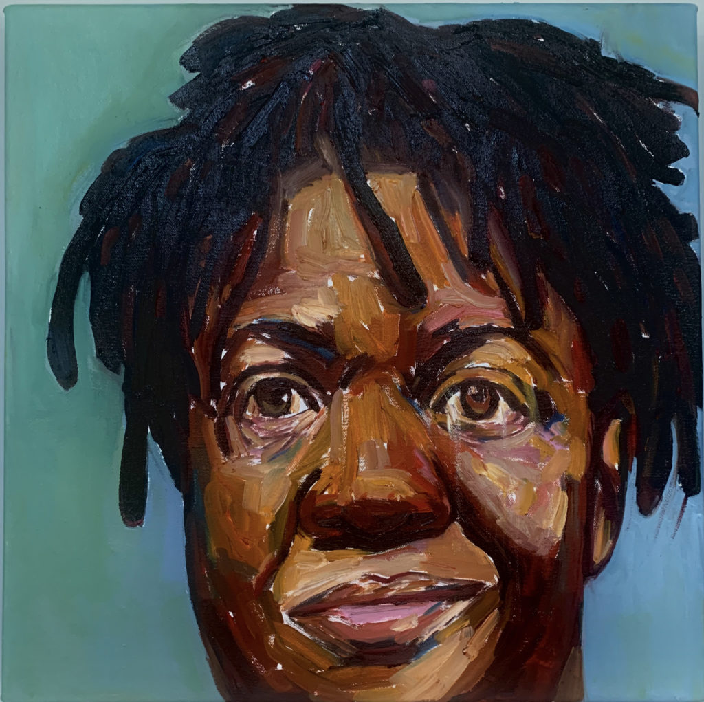 Covid Cut by Beverly McIver, oil on canvas, 20 x 20 at Craven Allen Gallery  15,000