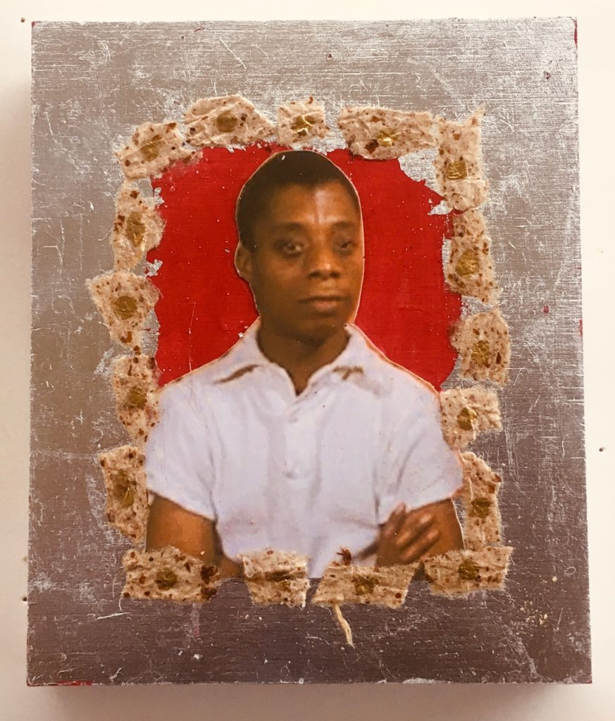 James Baldwin by Madelyn Smoak, collage on wood. 6 x 5 at Craven Allen Gallery