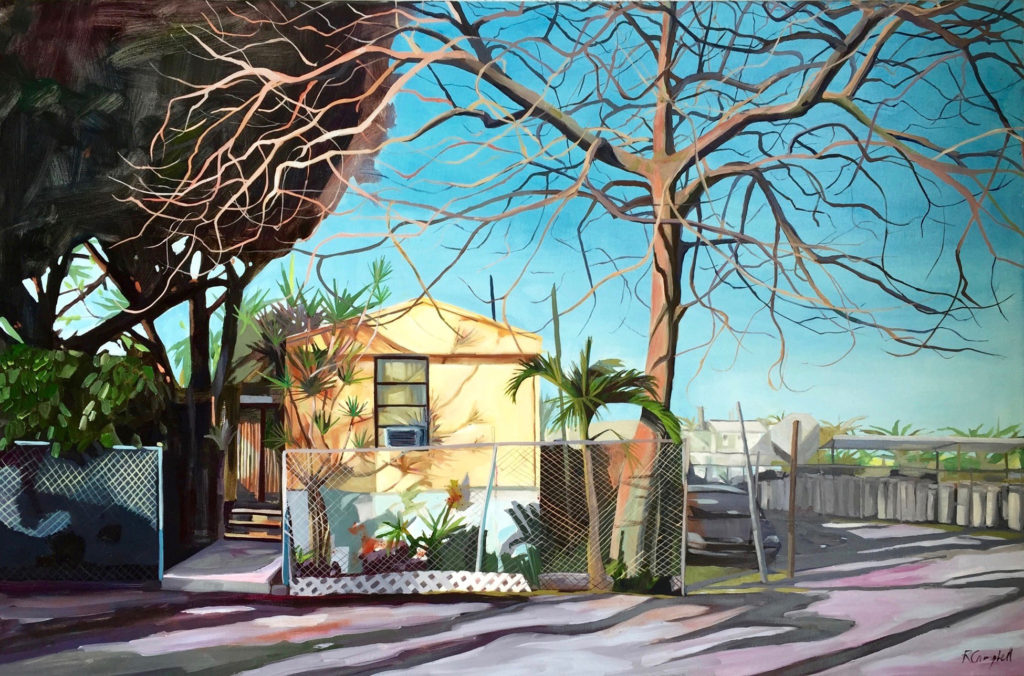 Last One Standing at the Gas Depot, oil on canvas, 36×24 by Rachel Campbell at Craven Allen Gallery