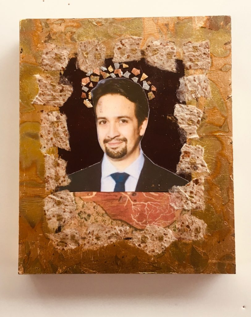 Lin-Manuel by Madelyn Smoak, collage on wood , 6 x5 at Craven Allen Gallery